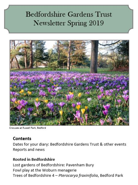 image of the bedfordshire gardens trust newsletter